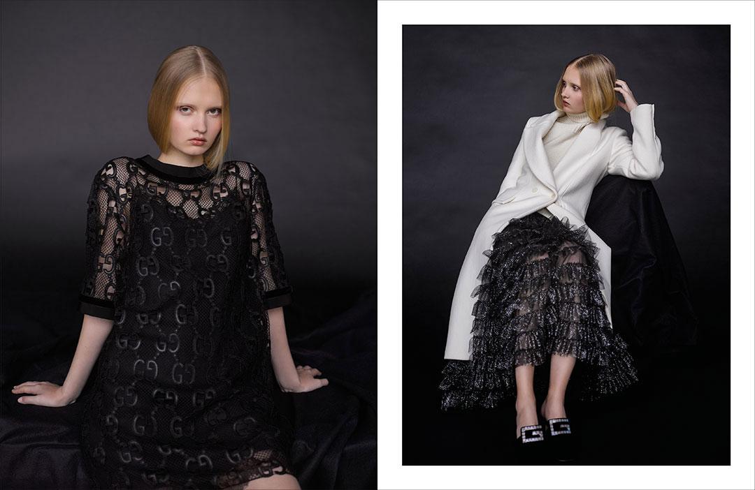 Robes et mules Gucci, manteau et pull Isabel Benenato.