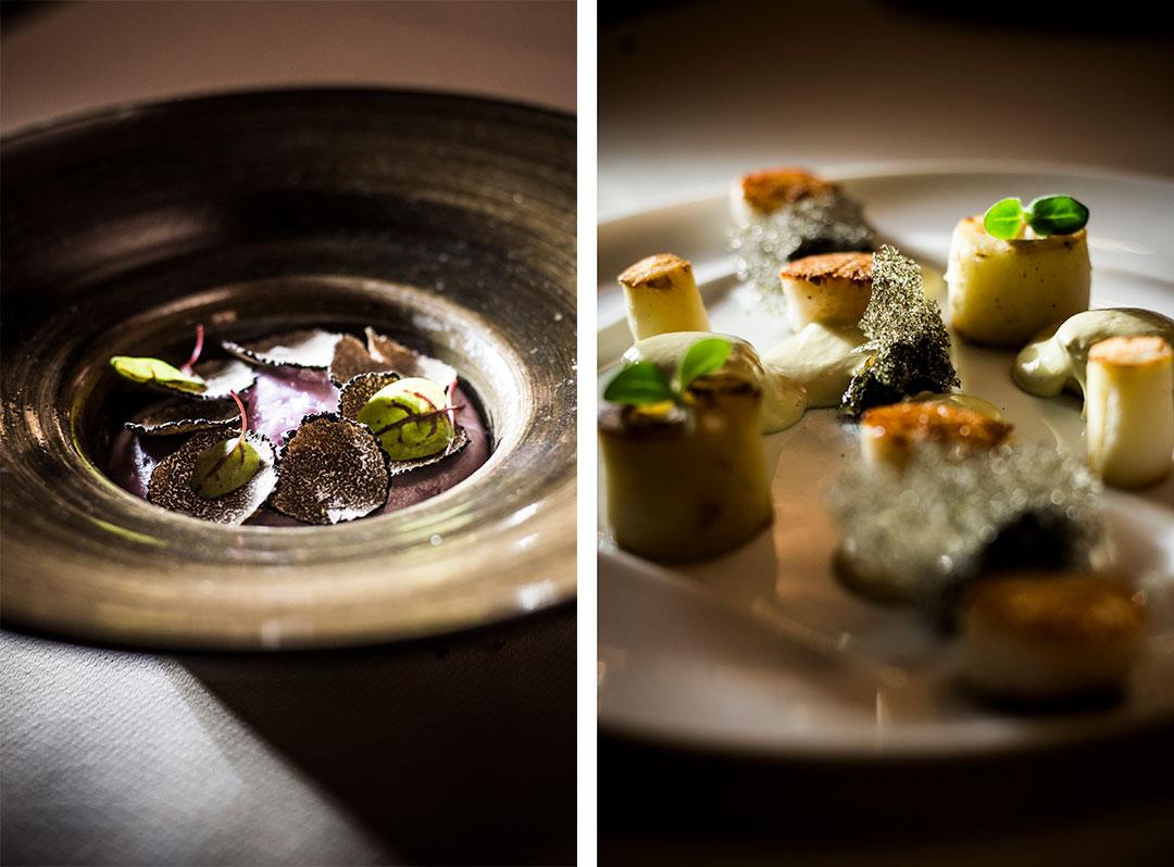 Parmentier de joue de boeuf aux pommes de terre vitelottes et truffes et Saint-Jacques, topinambours et chips d'algues © Pascal Bastien