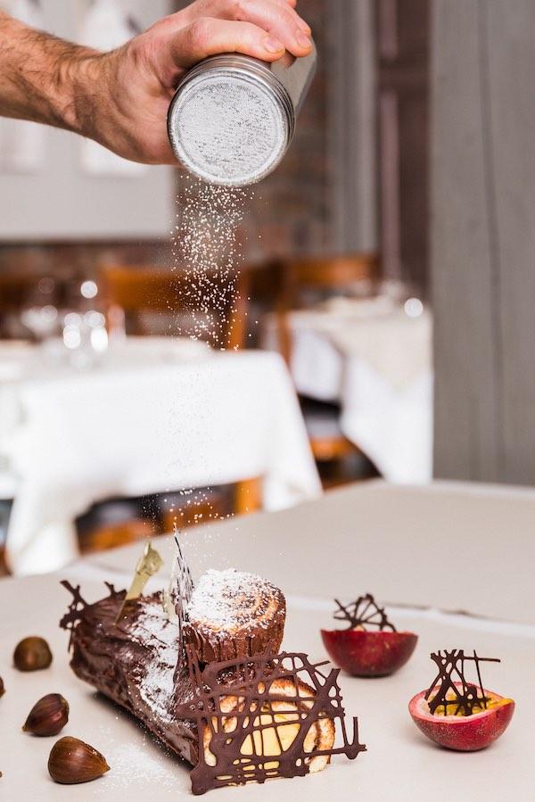 Bûche, dessert de fin d'année au restaurant Belle Vue.