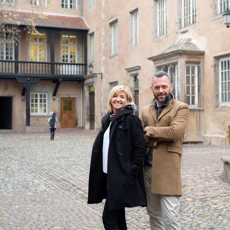 Caroline Cordier Loic Lefebre, gérants de L'Atelier du peintre à Colmar