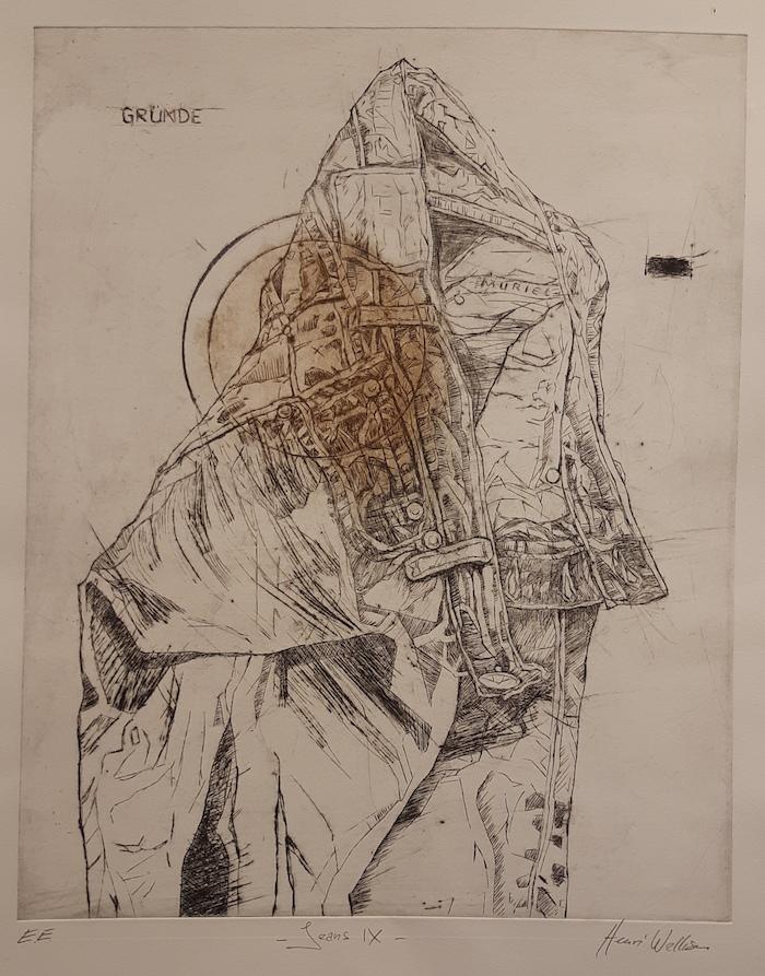 Henri Walliser expose les gravures de son blue-jean à L'Evasion à Sélestat. Oeuvre : Jean IX