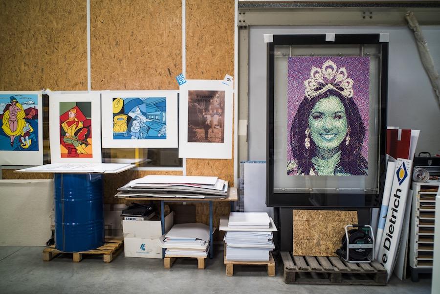 Série de réalisations, atelier de sérigraphie Lézard Graphique à Brumath. © Pascal Bastien