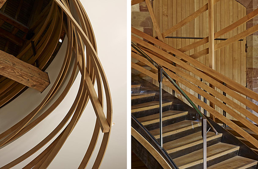Escalier de la Brasserie Les Haras à Strasbourg, designé par Jouin-Manku et réalisés par les Ateliers Stroh