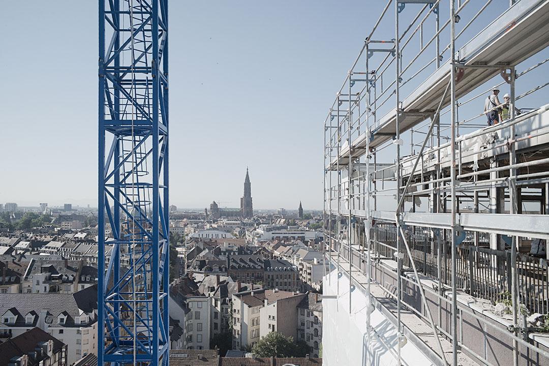 ZUT magazine a suivi la construction de La Canopée, anciennement la Maison du Bâtiment à Strasbourg. Photo : Henri Vogt