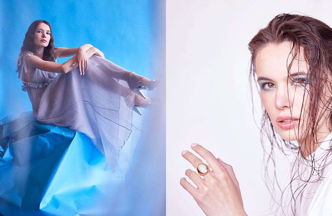 ZUT—Série mode—Robe longue en mousseline de soie Dondup chez Algorithme La Loggia. Sandales Celine chez Ultima. ©Alexis Delon / Preview