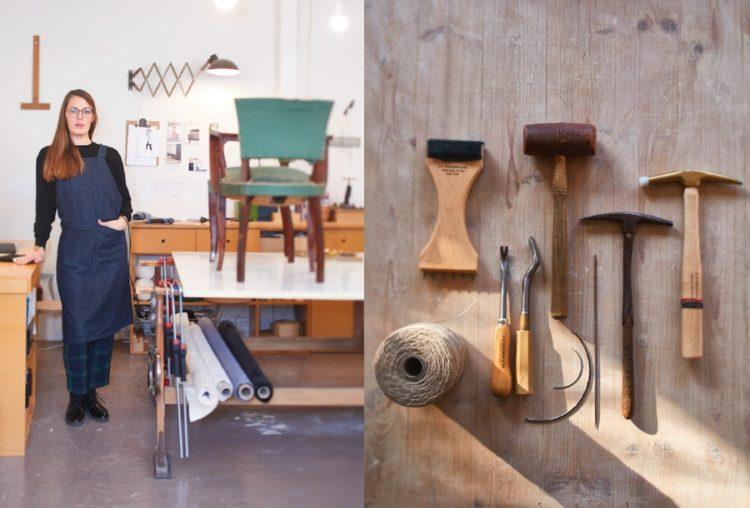 Emmanuelle Feucht, tapissière dans son atelier. © Alexis Delon