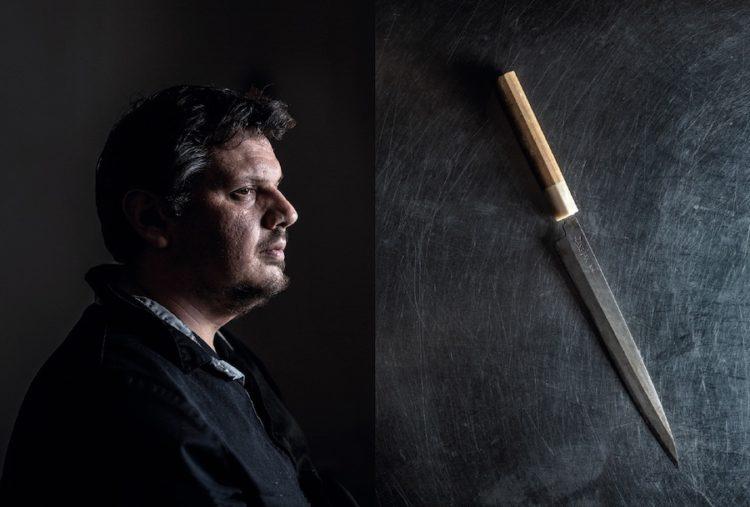 Guillaume Besson, chef cuisinier, restaurant les Funambules à Strasbourg et son couteau.