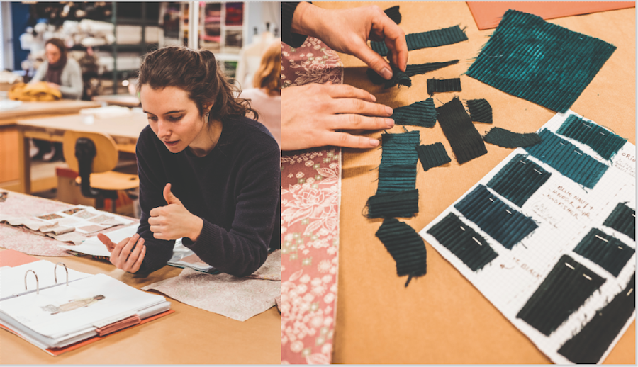Dans l'atelier costume, Louise Digard, élève scénographe, travaille sur le spectacle de son camarade Simon-Élie Galibert. Photo : Pascal Bastien