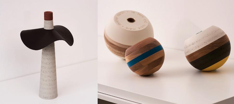 Bougeoir et vases de Beatrix Li-Chin Loos fabriqués à partir de chutes de bois © Simon Pagès