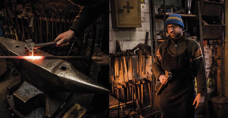 Le forgeron strasbourgeois Geoffroy Weibel dans son atelier. © Pascal Bastien